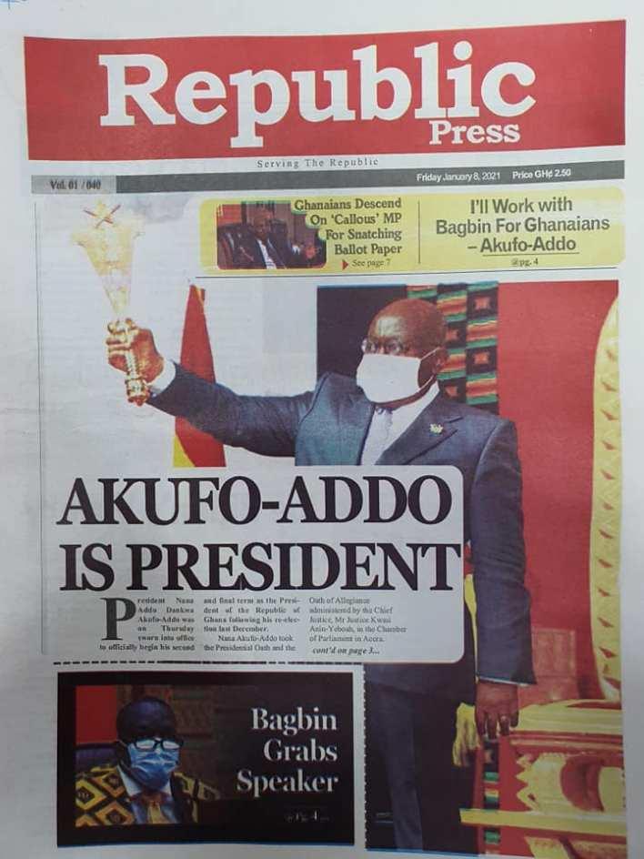 Newspaper headlines of Friday, January 8, 2020 60