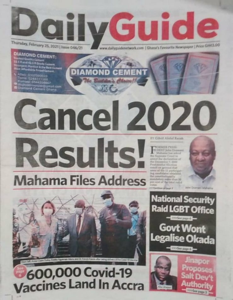Newspaper headlines of Thursday, February 25, 2021 56