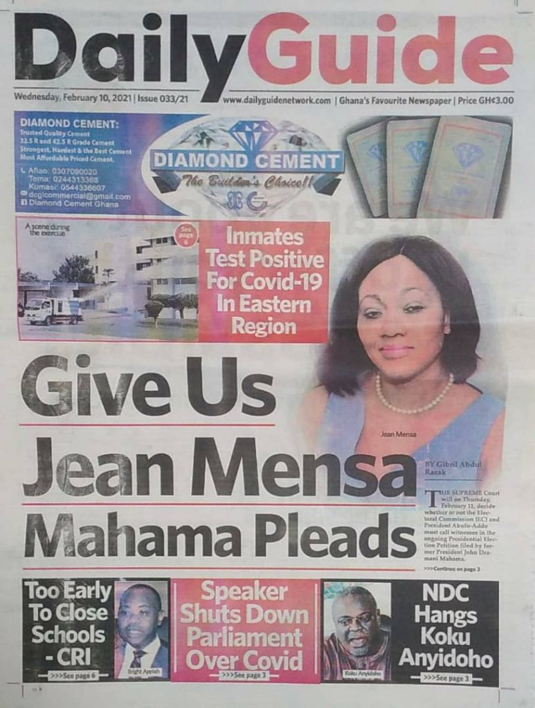 Newspaper headlines of Wednesday, February 10, 2021 24