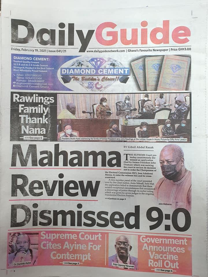 Newspaper headlines of Friday, February 19, 2021 103