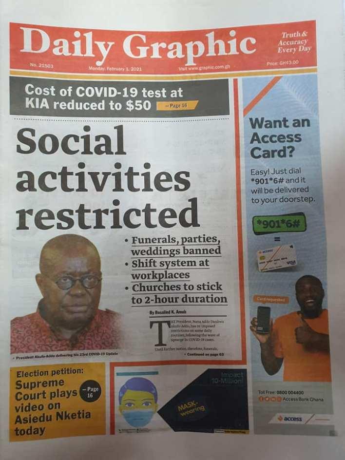 Newspaper Headlines Of Today February 1st 2021 101