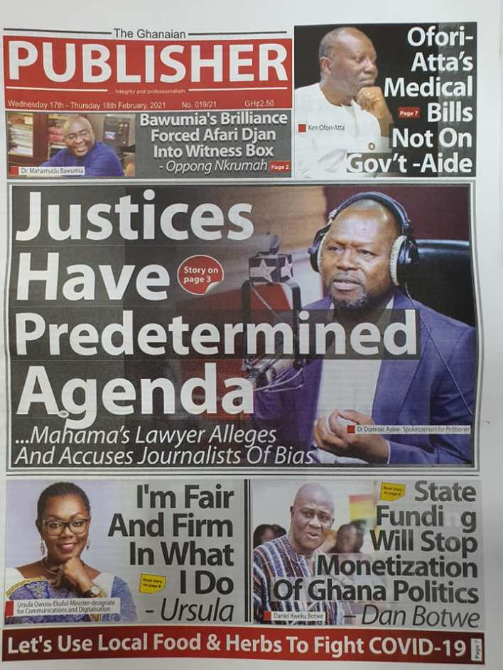 Newspaper headlines of Wednesday, February 17, 2021 87