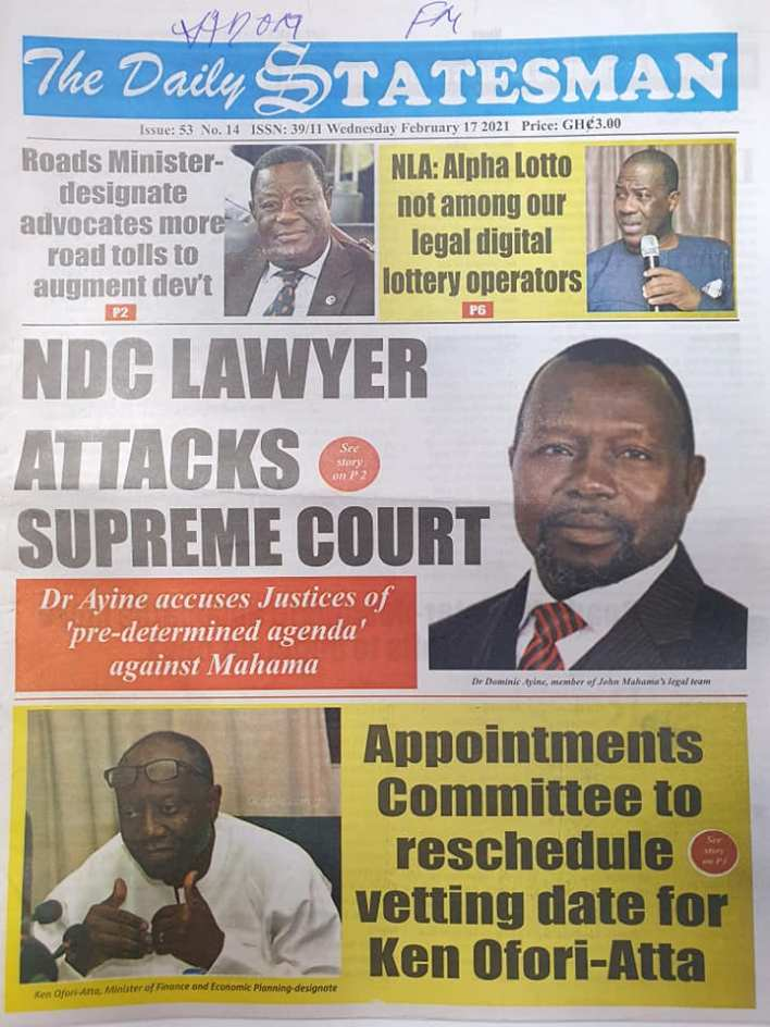 Newspaper headlines of Wednesday, February 17, 2021 84