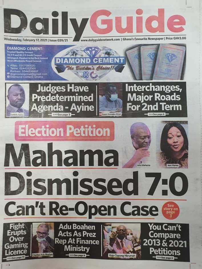 Newspaper headlines of Wednesday, February 17, 2021 82