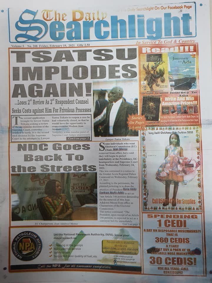 Newspaper headlines of Friday, February 19, 2021 94