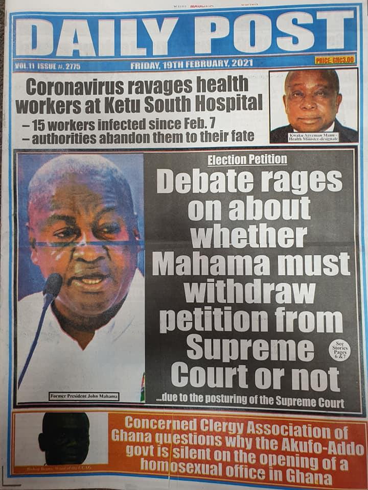 Newspaper headlines of Friday, February 19, 2021 96