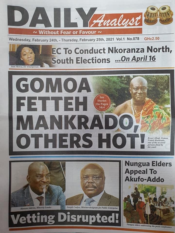 Newspaper headlines of Wednesday, February 24, 2021 87