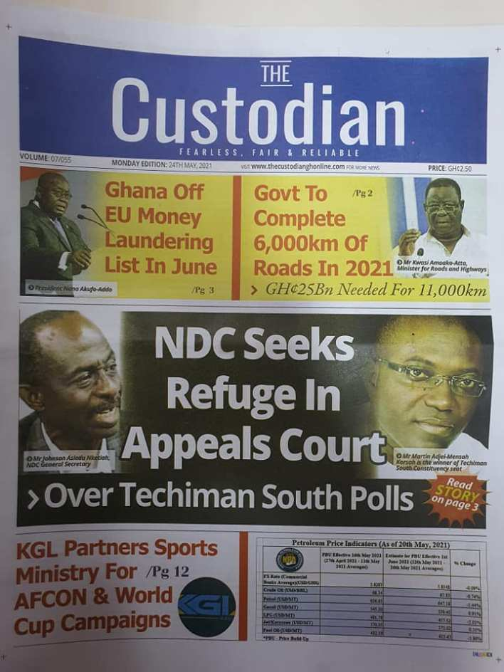 Today's Newspaper headlines: Monday, May 24th ,2021 14