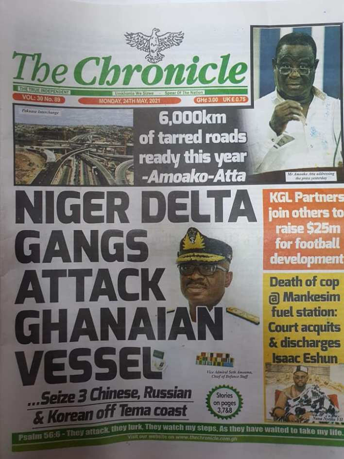 Today's Newspaper headlines: Monday, May 24th ,2021 16