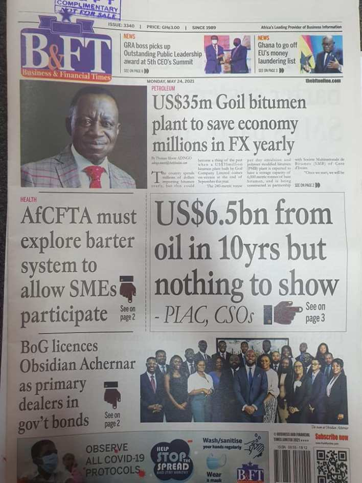 Today's Newspaper headlines: Monday, May 24th ,2021 2