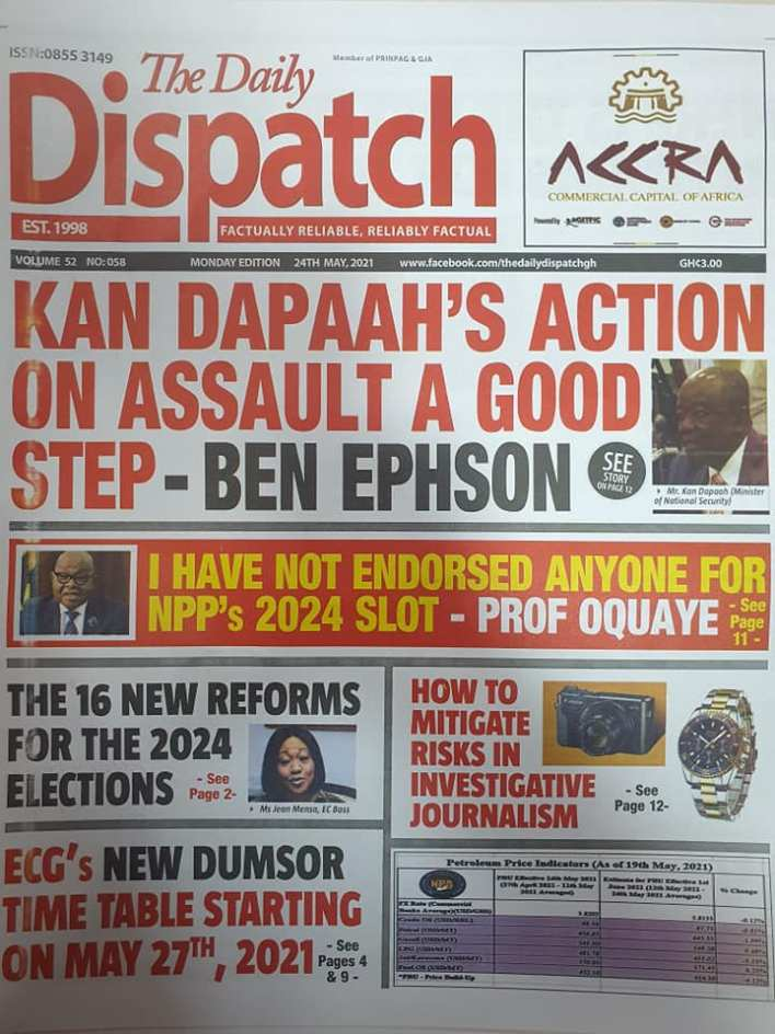 Today's Newspaper headlines: Monday, May 24th ,2021 8