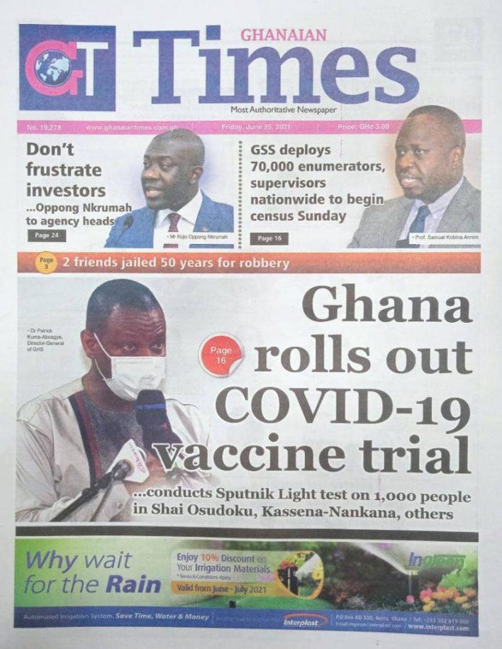 Newspaper headlines of Friday, June 25, 2021 21