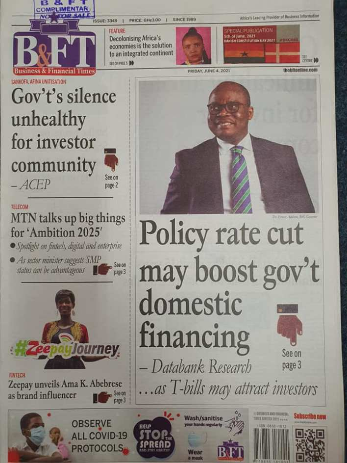Newspaper headlines of Friday, June 4, 2021. 124