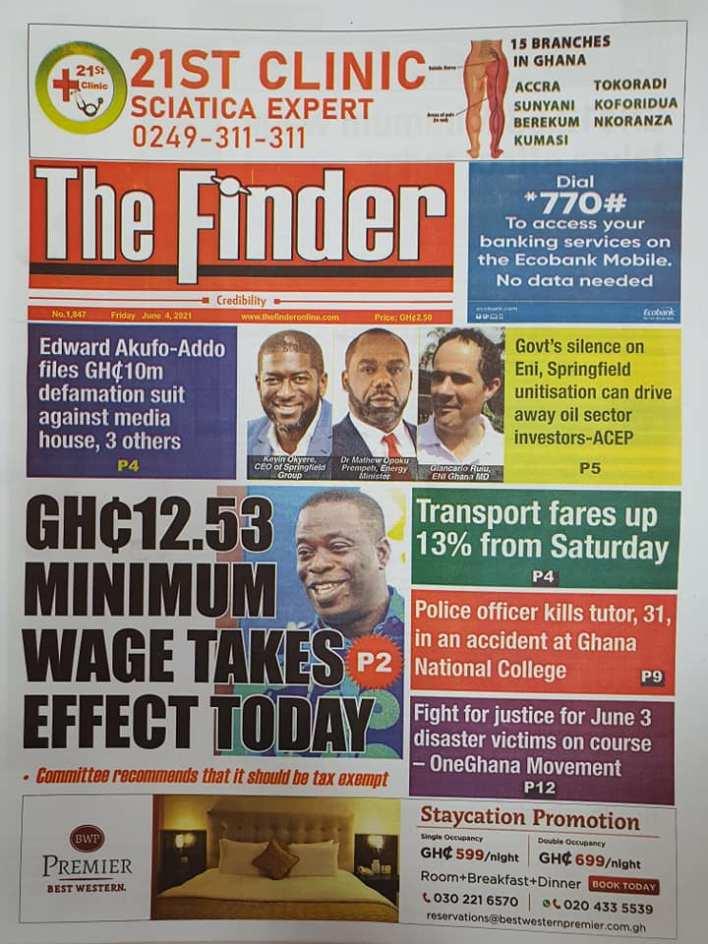 Newspaper headlines of Friday, June 4, 2021. 123
