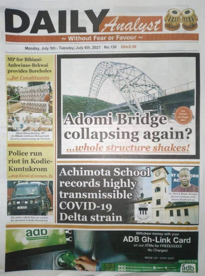 Newspaper Headlines: Monday, July 5, 2021. 106