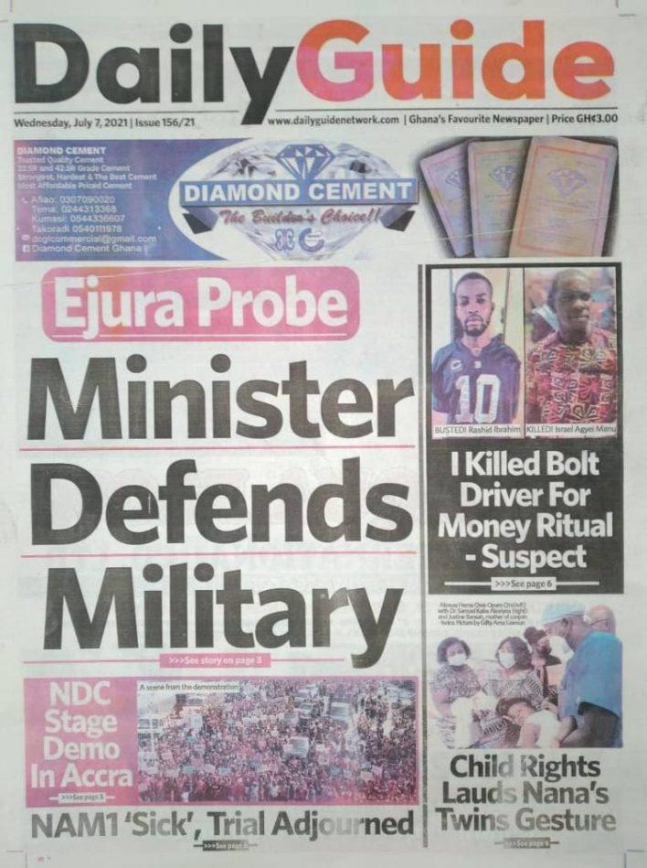 Newspaper headlines of Wednesday, July 7, 2021 5