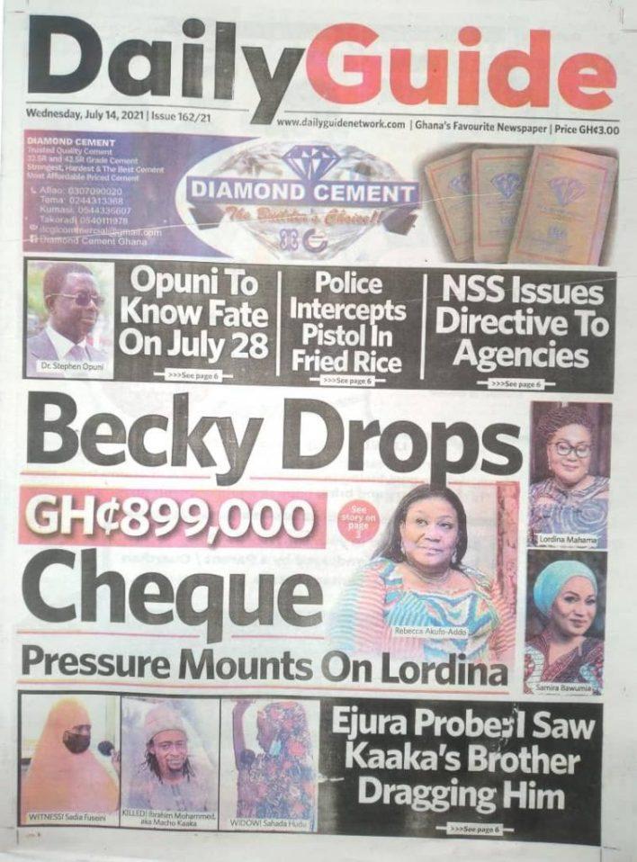 Today's Newspaper Headlines Wednesday July 14, 2021- Photos 40