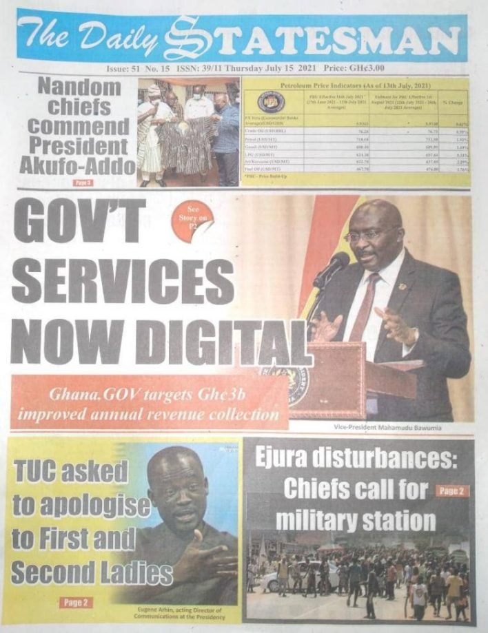 Today's Newspaper Headlines Of Thursday July 15, 2021 6