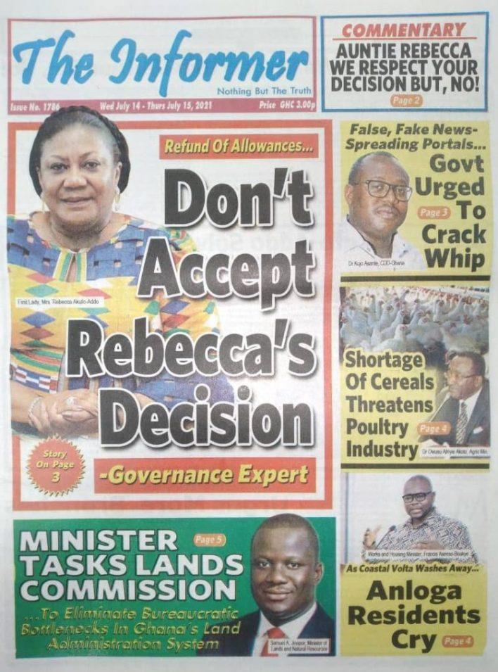 Today's Newspaper Headlines Wednesday July 14, 2021- Photos 43
