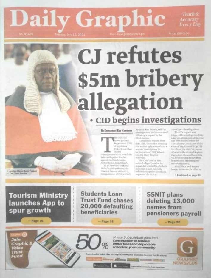 Today's Newspaper Headlines, Tuesday July 13, 2021 9