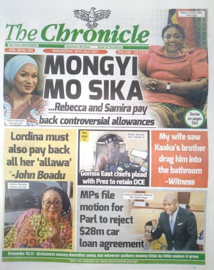 Today's Newspaper Headlines Wednesday July 14, 2021- Photos 44