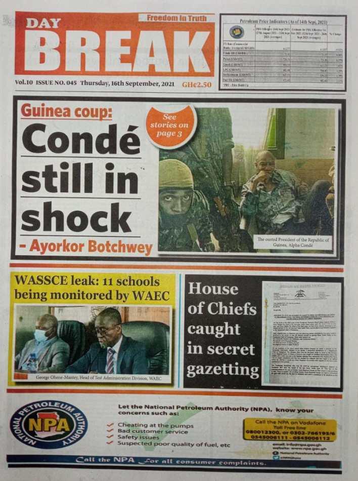 Newspaper Headline Of Thursday, September 16, 2021 3
