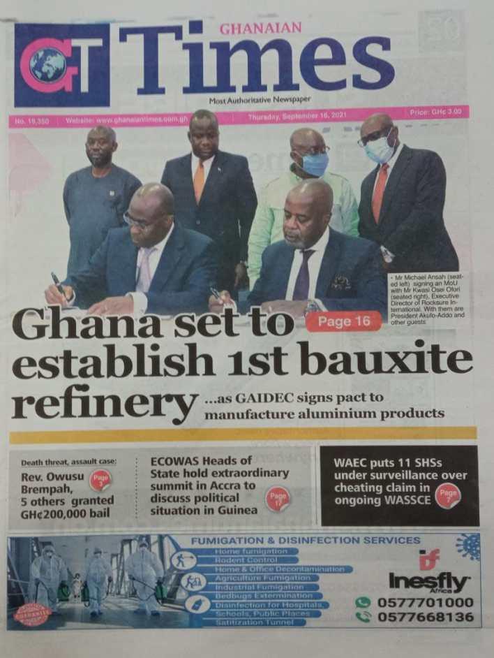 Newspaper Headline Of Thursday, September 16, 2021 5