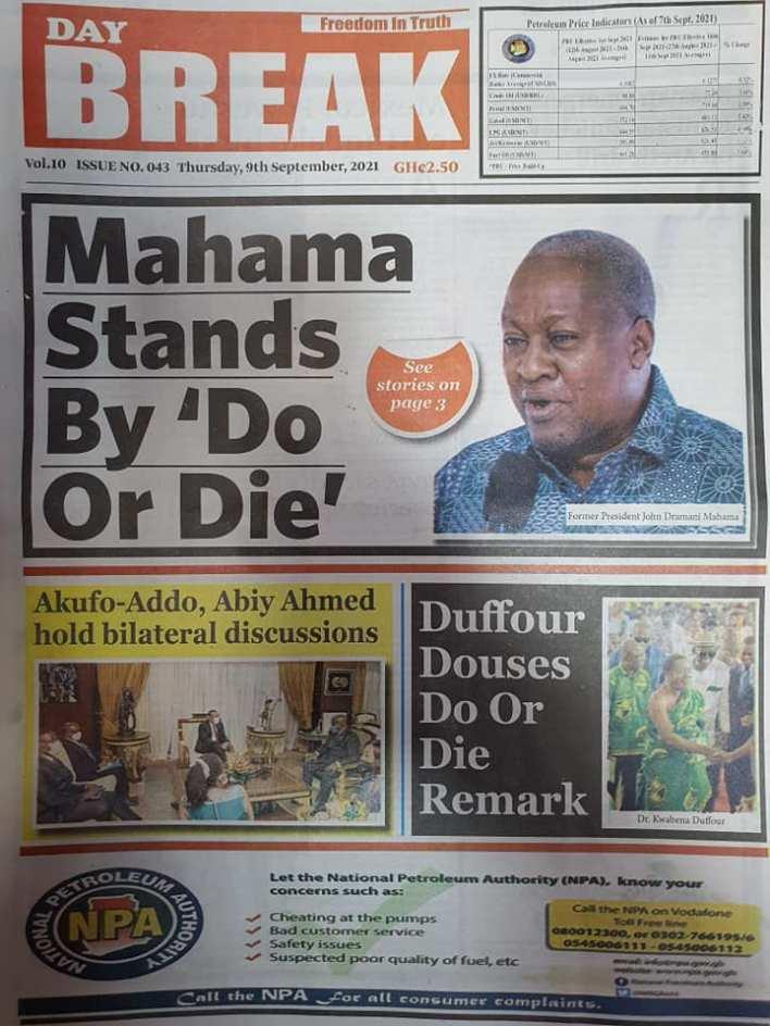 Newspaper Headline Of Thursday, September 9, 2021 10