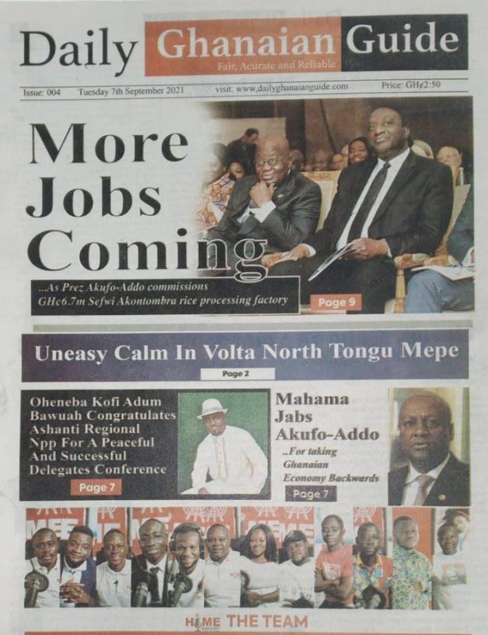 Newspaper Headline Of Tuesday, September 7, 2021 3