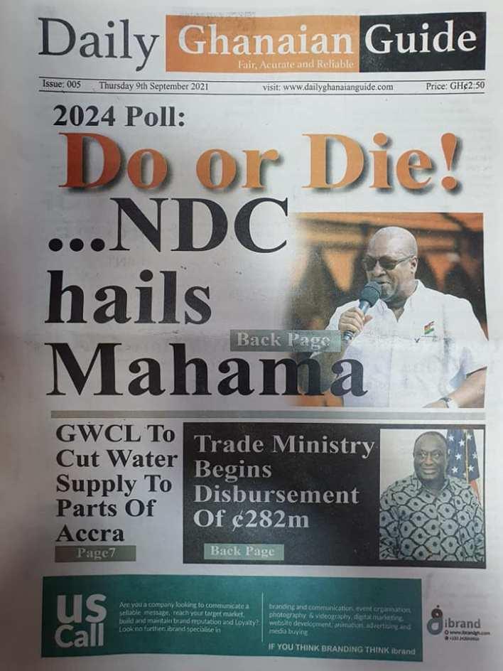 Newspaper Headline Of Thursday, September 9, 2021 11