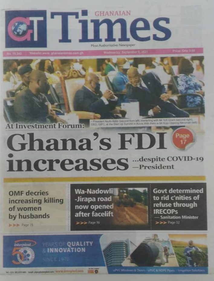 Newspaper Headline Of Wednesday, September 8, 2021 8