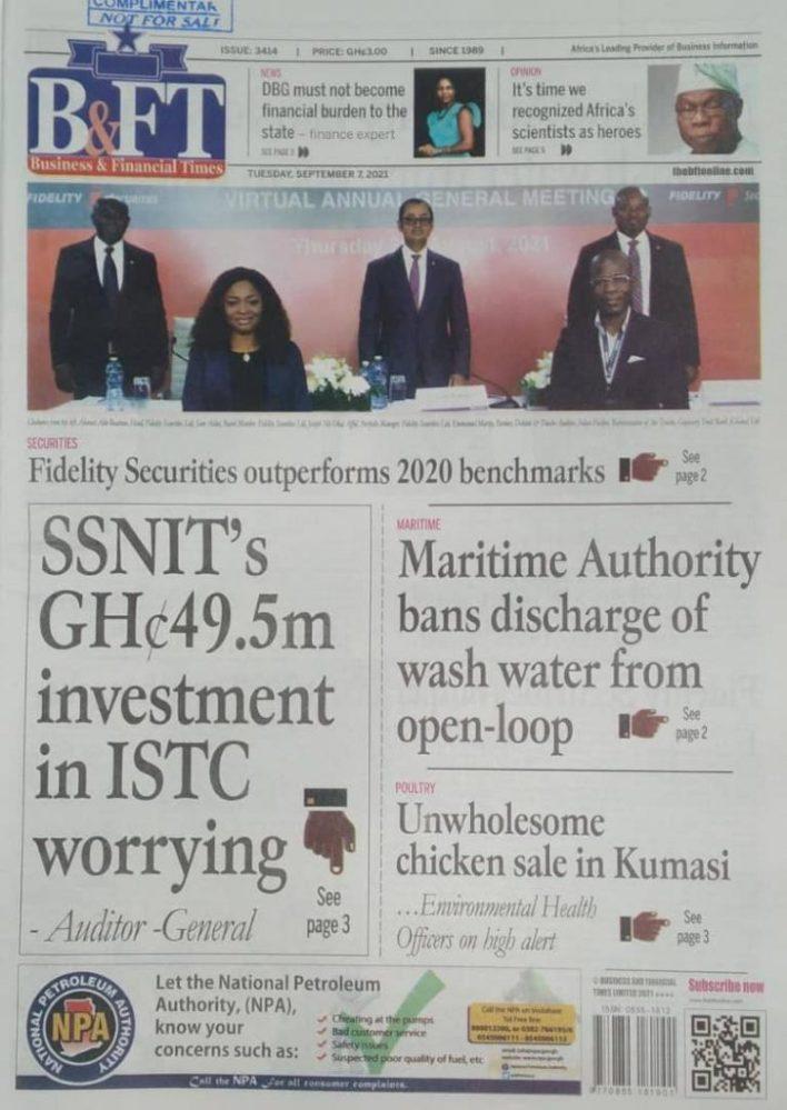 Newspaper Headline Of Tuesday, September 7, 2021 1