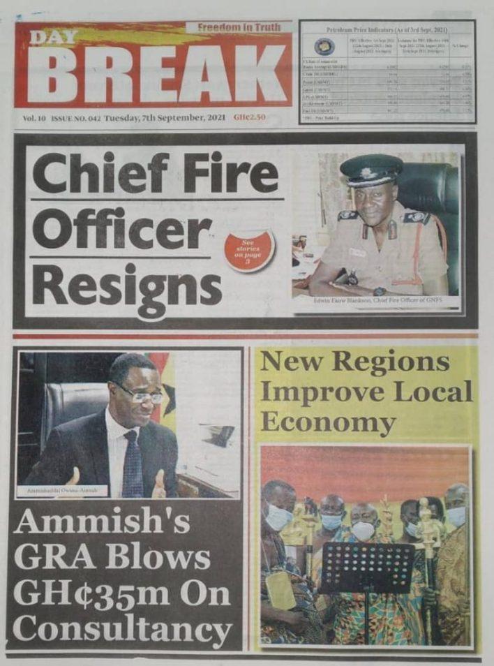 Newspaper Headline Of Tuesday, September 7, 2021 2