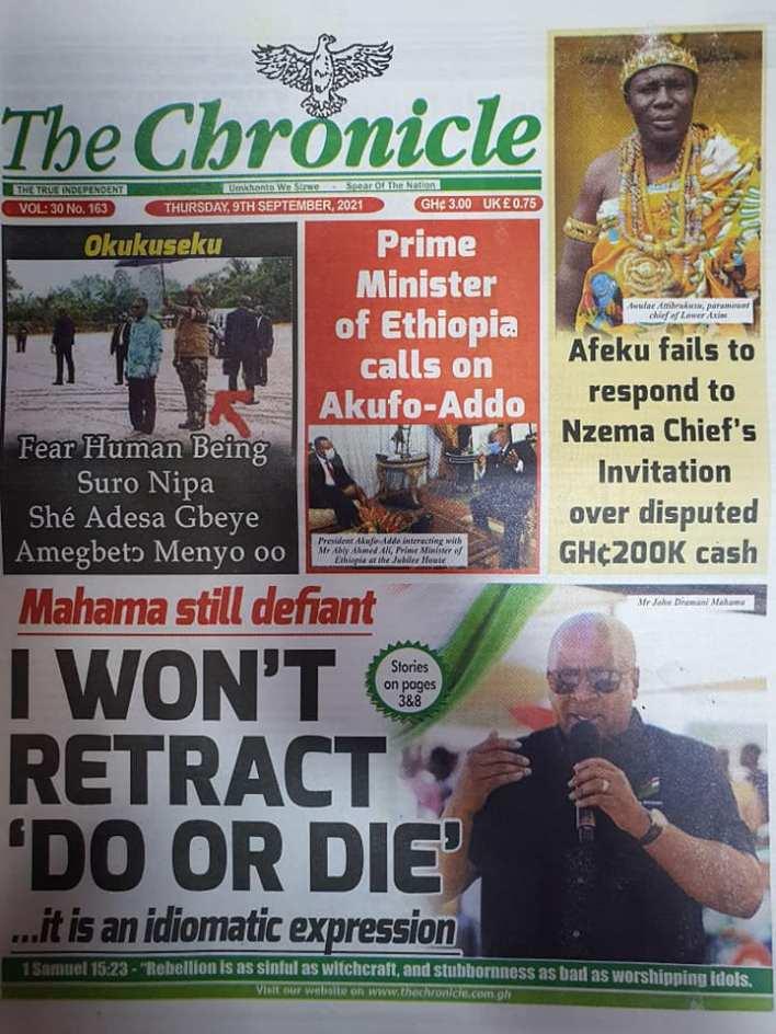 Newspaper Headline Of Thursday, September 9, 2021 3