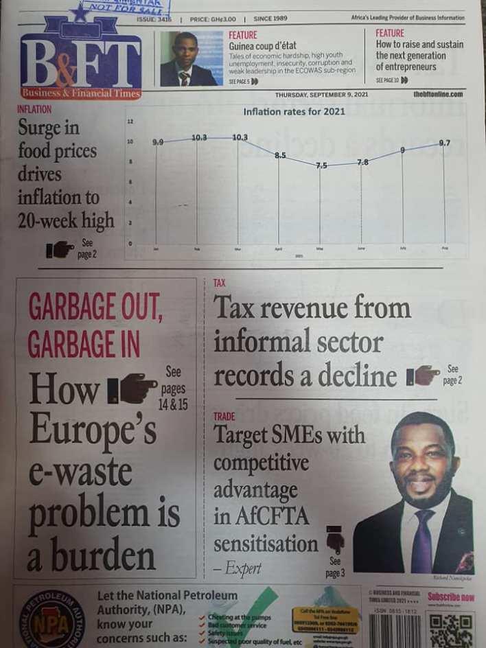 Newspaper Headline Of Thursday, September 9, 2021 4
