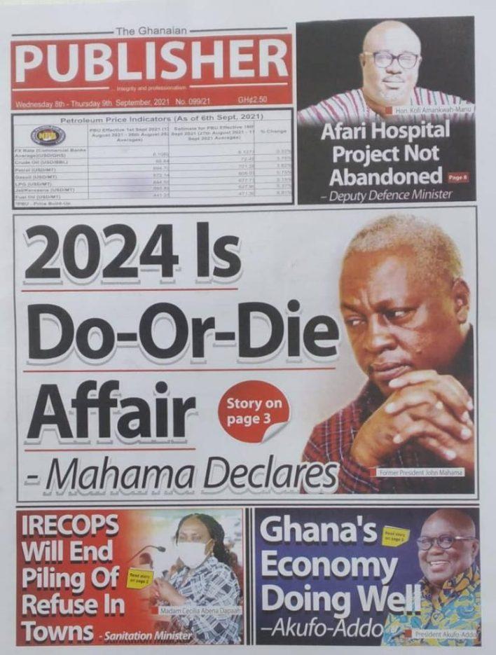 Newspaper Headline Of Wednesday, September 8, 2021 12