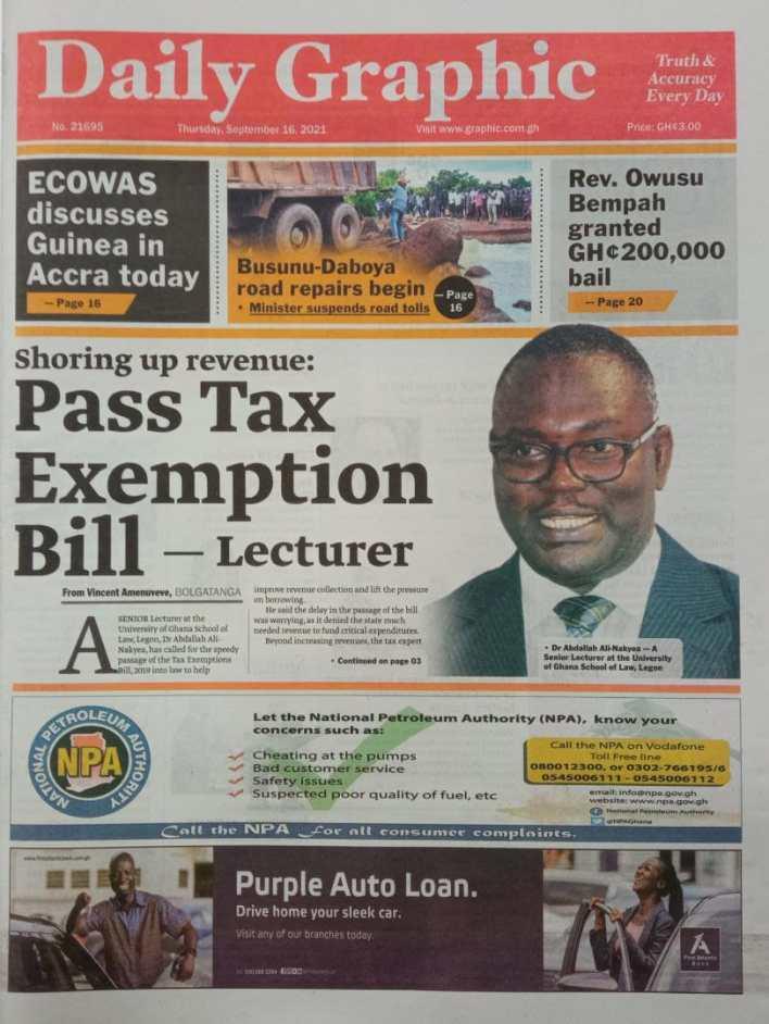 Newspaper Headline Of Thursday, September 16, 2021 7
