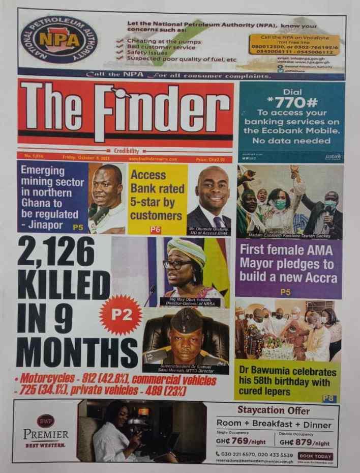 Newspaper headlines of Friday, October 8, 2021 5