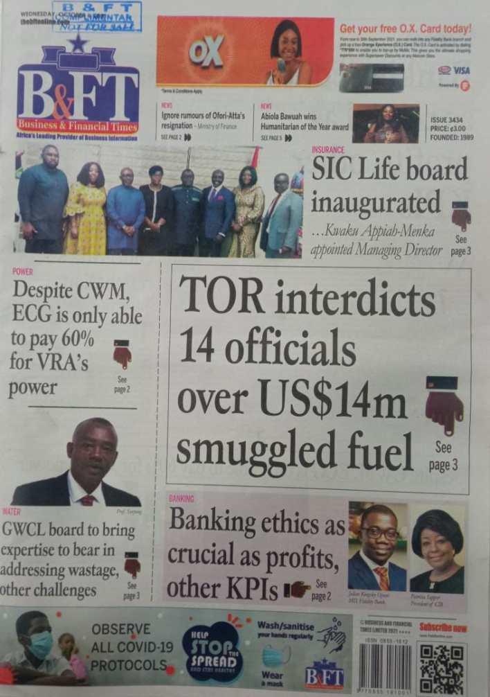 Newspaper Headline Of Wednesday, October 6, 2021 8