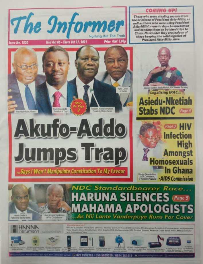 Newspaper Headline Of Wednesday, October 6, 2021 10