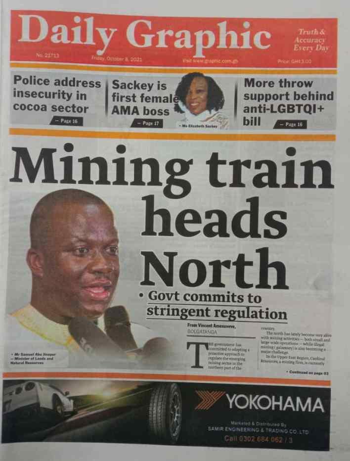 Newspaper headlines of Friday, October 8, 2021 1