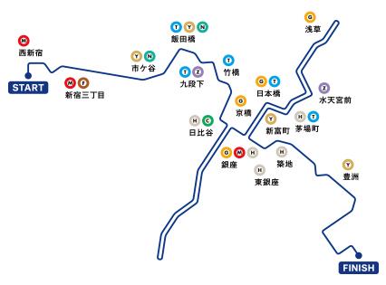 東京マラソンコース地下鉄路線図