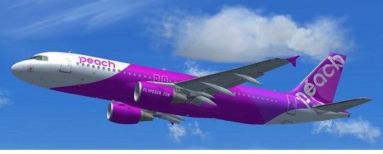 格安航空会社LCCのピーチの飛行機の画像