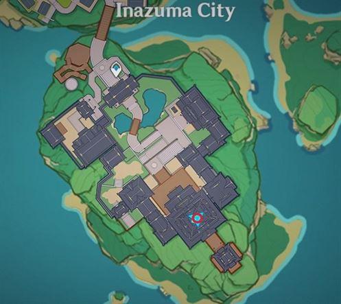32 Electroculus над главным зданием на карте города Инадзума