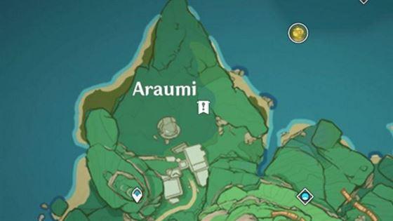 Расположение на карте старого каменного сланца у лестницы в руинах Арауми (изображение с Genshin Impact)