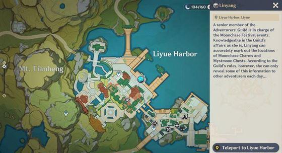 Расположение Линьяна на карте (Изображение с Genshin Impact)