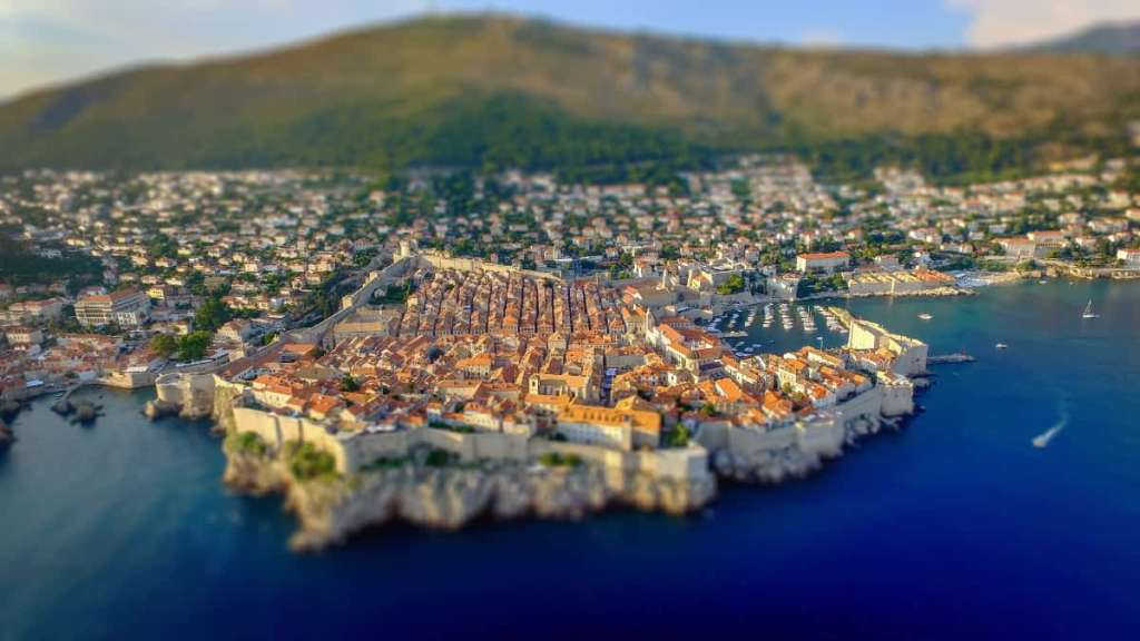 Overhead view of the city of Dubrovnik from the sea