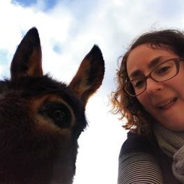 Taking a selfie with a donkey in Gubbio