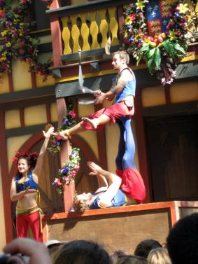 Acrobats performing at the Bristol Renaissance in Kenosha, Wisconsin