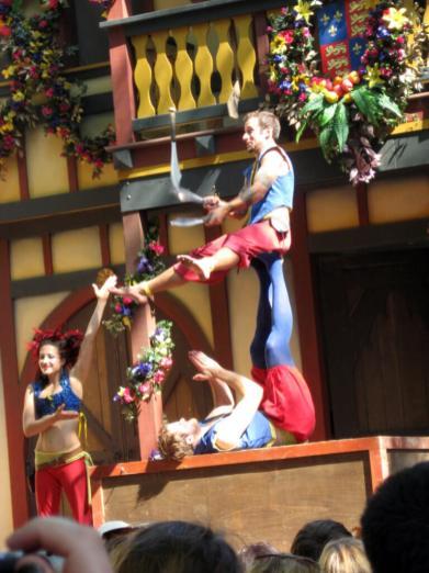Acrobats performing at the Bristol Renaissance in Kenosha, Wisconsin